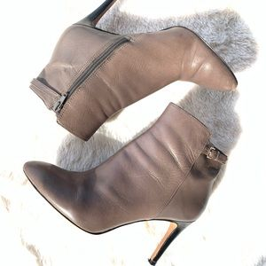 Nine West Power Hour Gray Leather Booties
